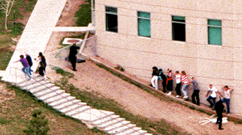 Students fleeing from the east exits of the school